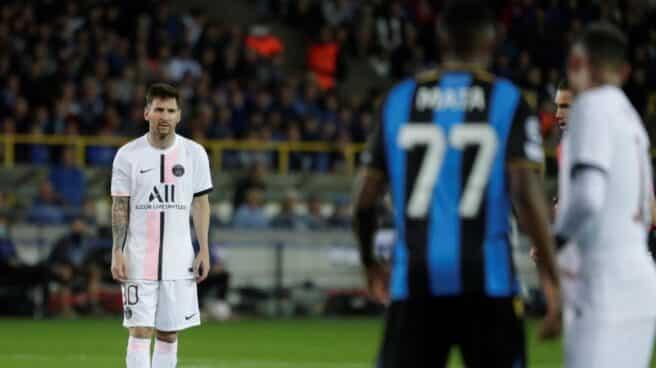 Messi, en un partido entre el PSG y el Club Brujas