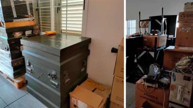 Equipos técnicos comprados para el SIVE de Lanzarote embalados en dependencias de la Guardia Civil desde hace años.