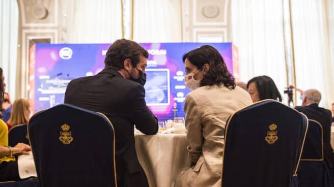 La presidenta de la Comunidad de Madrid, Isabel Díaz Ayuso y el presidente del Partido Popular, Pablo Casado.
