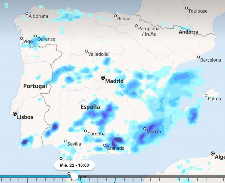Mapa de españa con previsiones de lluvias en la zona mediterránea