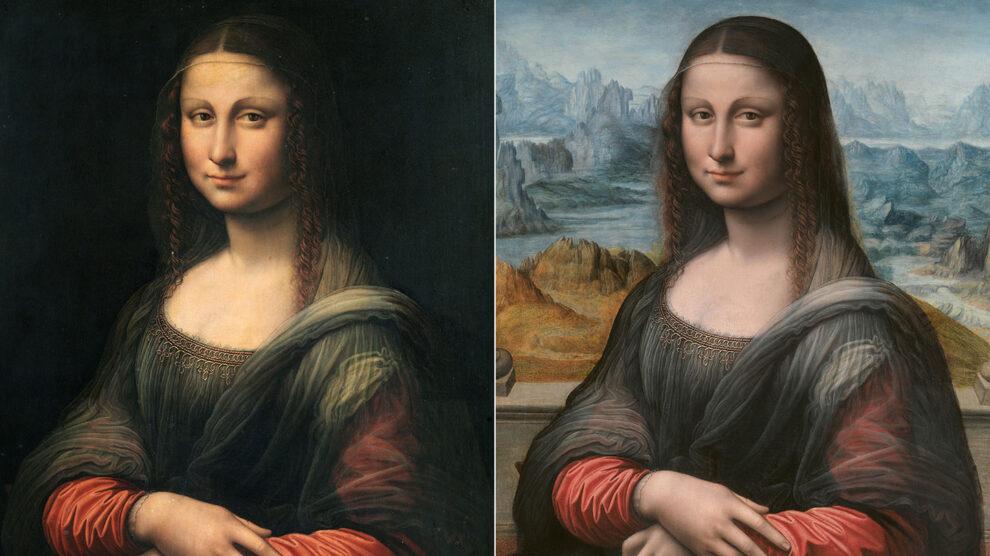Comparación del antes y después de la Gioconda