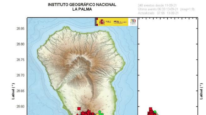 Mapa sobre de los terremotos en el sur de la isla de La Palma entre los días 11 y 14 de septiembre