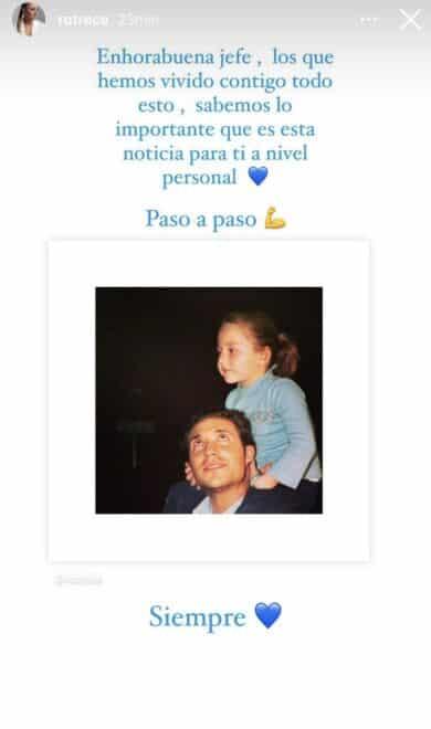 Captura de instagram de Rocío Flores en la que felicita a su padre, Antonio Flores por ganar el juicio