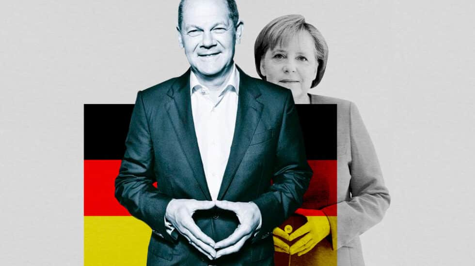 Imagen de Olaf Scholz con Angela Merkel de fondo como sombra y la bandera alemana entre ambos