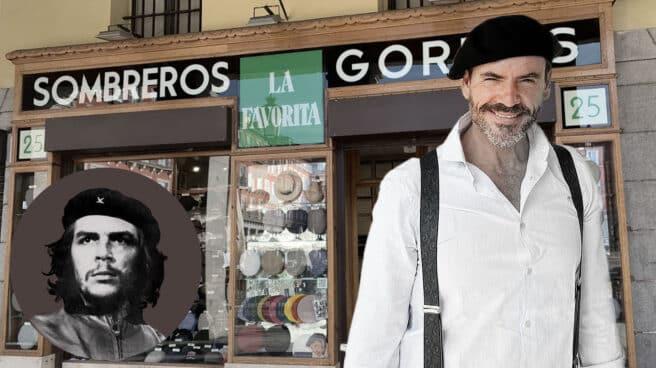 El Che Guevara luciendo la boina que compró en La Favorita y Carlos Escobar, actual dueño del local, luciendo el mismo modelo que el Che
