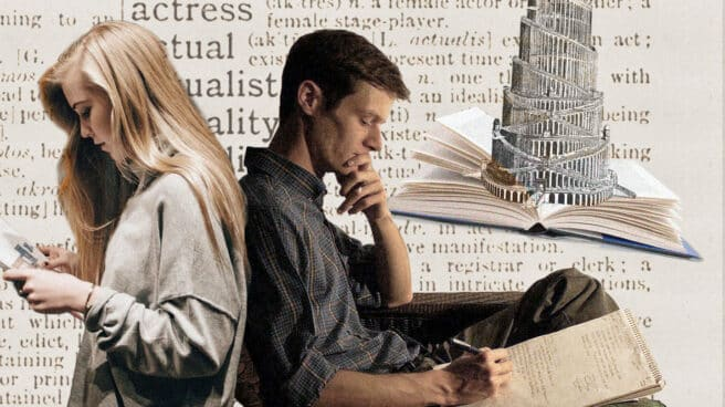 Imagen de dos traductores enfrentados con la torre de Babel de fondo y un diccionario de inglés