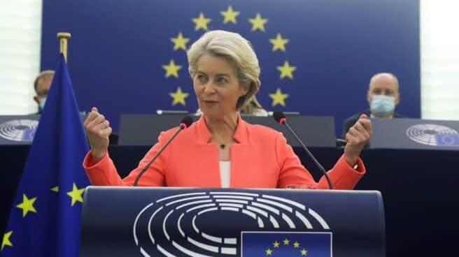 La Presidenta de la Comisión Europea, Ursula Von der Leyen, durante su discurso en el Parlamento Europeo