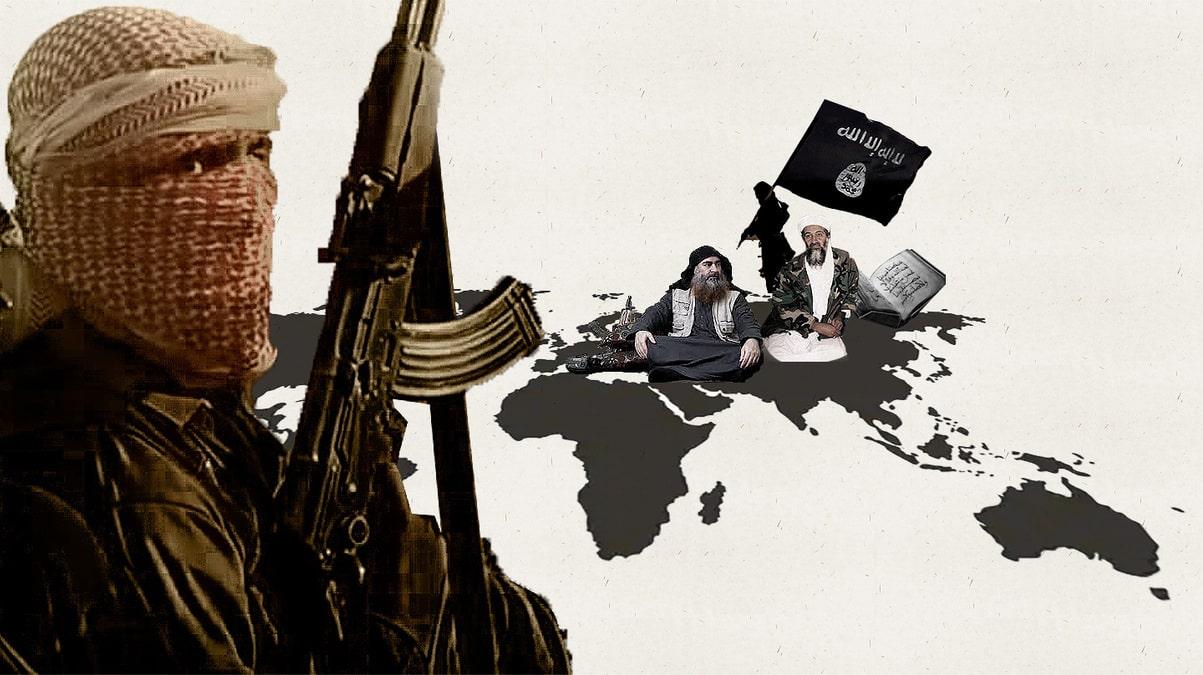 Montaje de terrorista yihadista, Al Qaeda y Estado Islámico