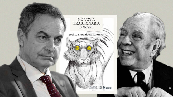 Imagen de Jóse Luis Rodríguez Zapatero y Luis Borges con la portada de su libro No voy a traicionar a Borges