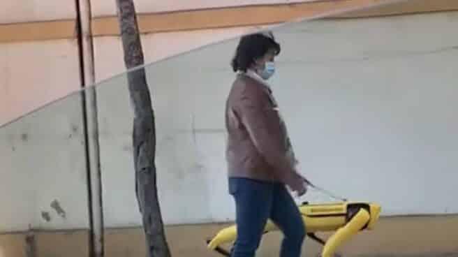Mujer paseando a su perro robot
