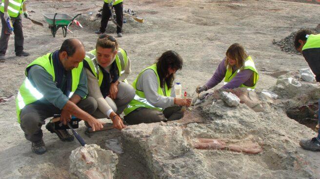 Restos de dinosaurios en el yacimiento del Cretácico Superior (80 millones de años) de Lo Hueco (Cuenca) durante la excavación en 2007.