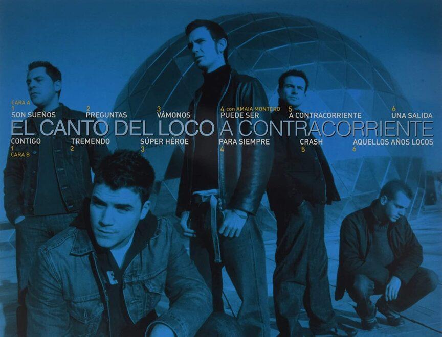 Contraportada del disco A contracorriente de 'El Canto del Loco'