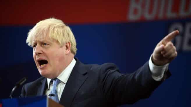 Boris Johnson, primer ministro británico, en el último congreso conservador