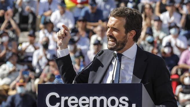 El presidente del PP, Pablo Casado, en el acto de clausura de la Convención Nacional del PP.