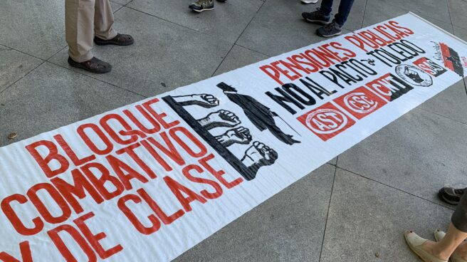 Pancarta de la manifestación en Madrid por las pensiones