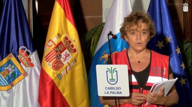 María José Blanco, directora del IGN en Canarias, durante una rueda de prensa sobre el volcán de La Palma