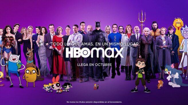 Portada HBO Max con múltipls personajes de Warner alineados en un fondo púrpura