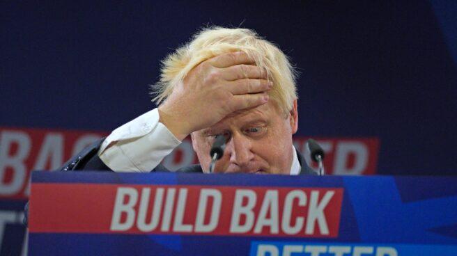 Imagen de Boris Johnson en rueda de prensa