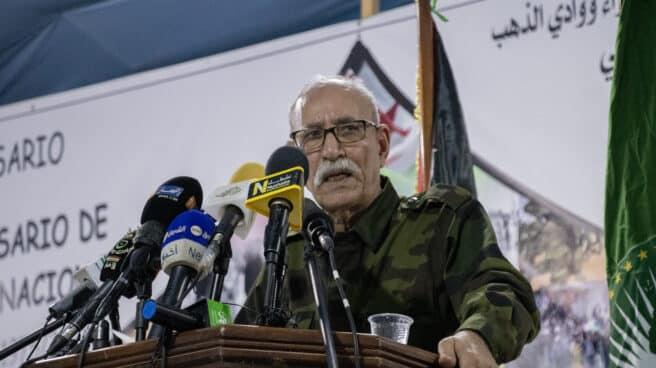 El líder del Frente Polisario, Brahim Ghali, durante su discurso este martes en el campamento de Dajla