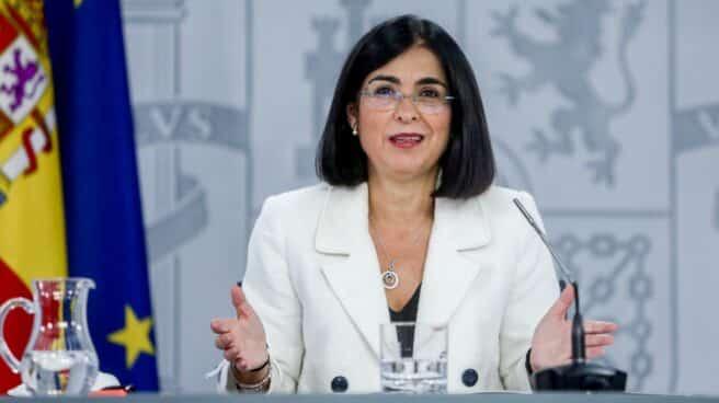 La ministra de Sanidad, Carolina Darias, en una comparecencia en La Moncloa.
