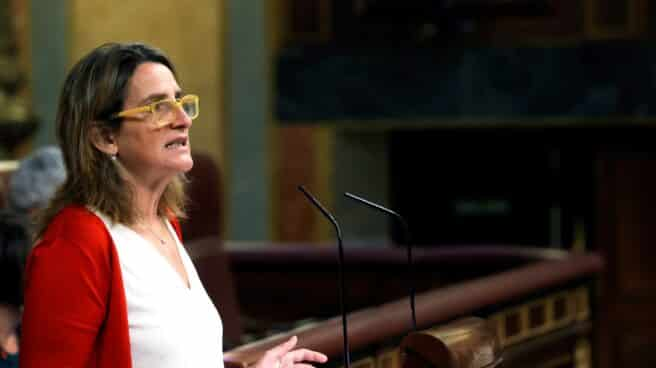 Teresa Ribera, en la tribuna del Congreso.