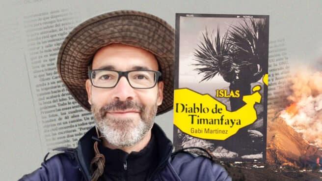 Imagen de Gabi Martínez con su libro ISLAS Diablo de Timanfaya