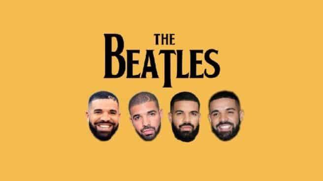 Montaje de Drake en una portada de 'The Beatles'