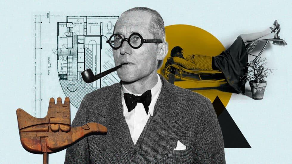 Imagen de Le Corbusier rodeado de creaciones suyas, entre ellas su famosa Chaise Longue
