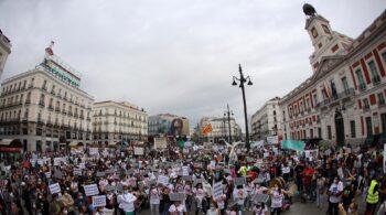Podemos se manifiesta en Madrid contra los grandes proyectos de renovables en zonas rurales