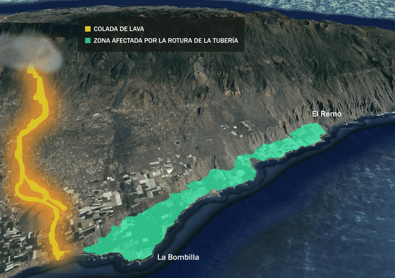 La zona de plataneras afectadas por la rotura de la tubería en La Palma
