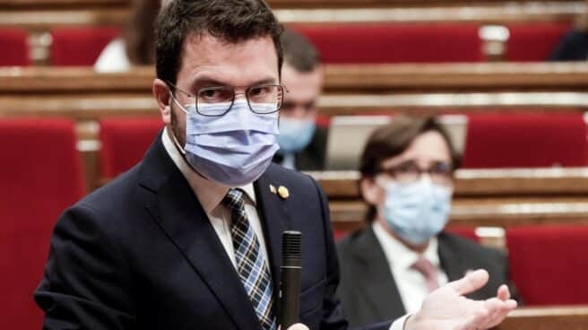 Pere Aragonès, en el Parlament.
