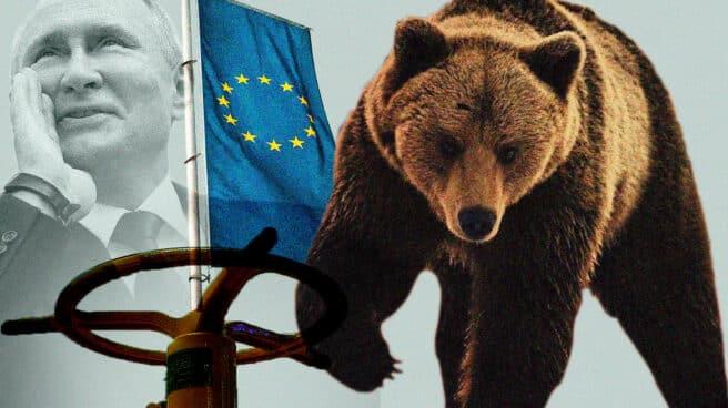 Imagen de Putin con un oso abriendo una llave de gas y la bandera de Europa de fondo