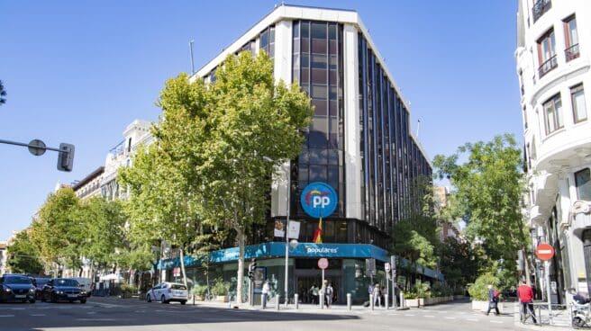 El edificio de la sede central del Partido Popular (PP) en la calle Génova