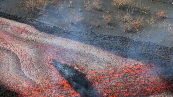 El volcán de La Palma en erupción