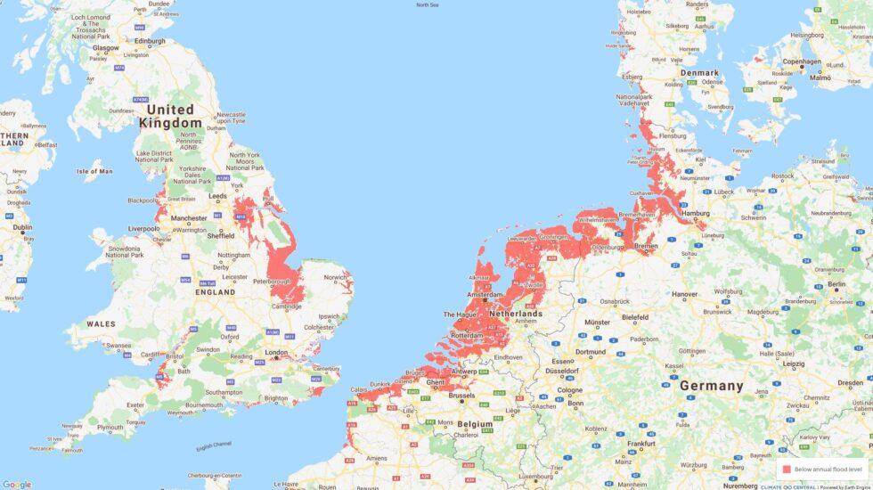 Mapa de la subida del nivel del mar.