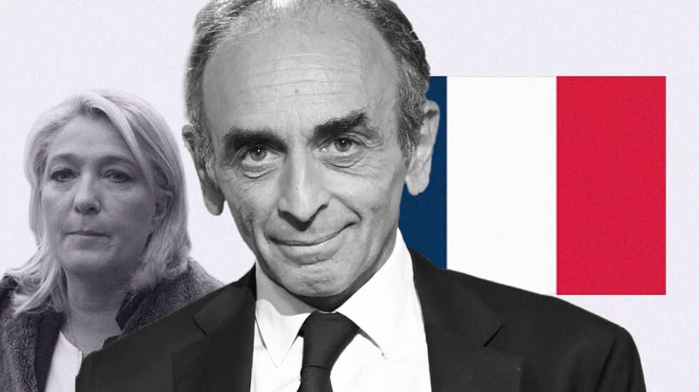 Éric Zemmour, en primer plano, con la bandera francesa y Marine Le Pen, al fondo